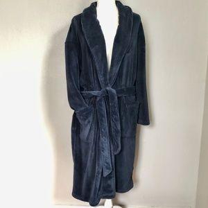 Nautica Men's Long Sleeve Navy Plush Cozy Robe